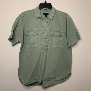 J CREW green 100% cotton half button up shirt